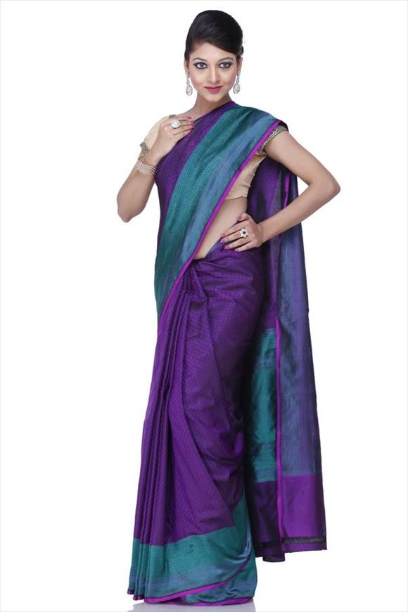 Iris Orchid Kattan Silk Banarasi Saree