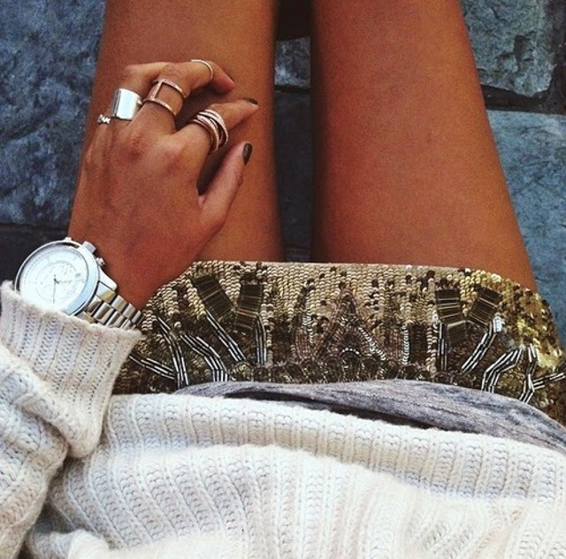 sequin skirt_chunky white knit sweater_dainty gold rings_style_fashion