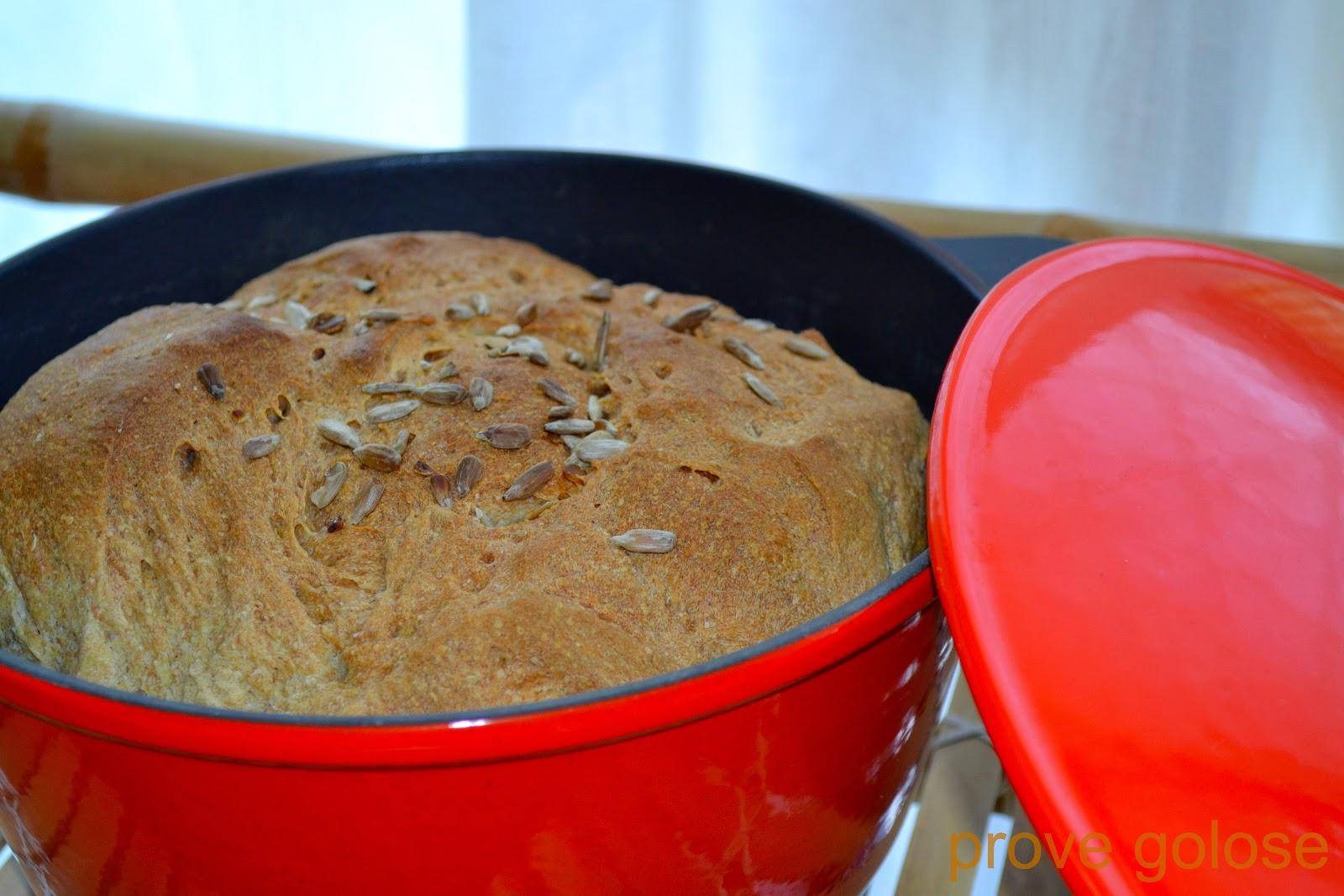 pane nella pentola con pasta madre