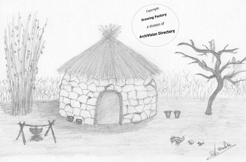African Hut - Free Coloring Pages