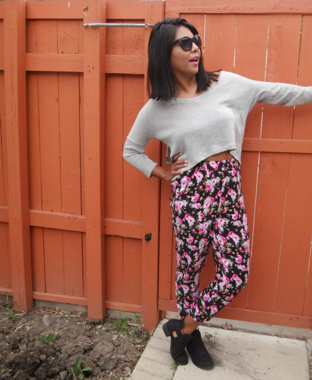 flower ankle pants