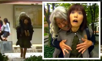 Nodame with Strezemann on her back / Nodame shocked as Strezemann gropes her chest