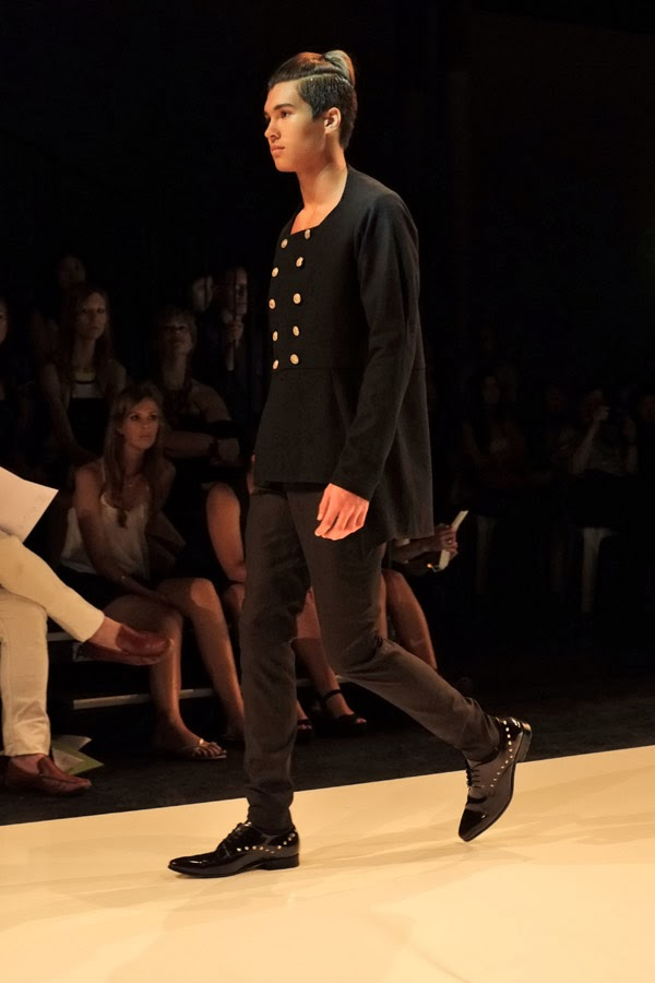 David Zheng; collarless 'dragoon'  double buttoned long sleeve shirt with long tail in black black pants - Menswear : Raffles Graduate Fashion Parade 2013 Photography by Kent Johnson.