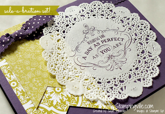 Stamping on paper doily for vintage look card.