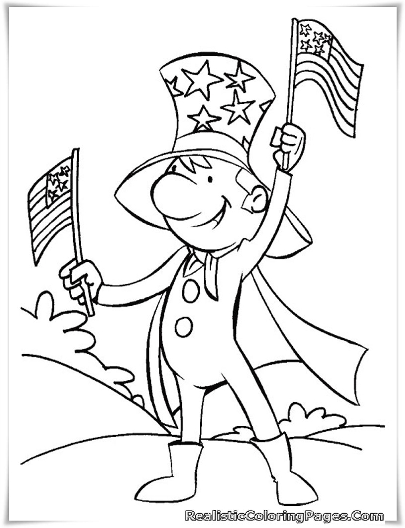 Free Printable 4th July Coloring Pages Realistic