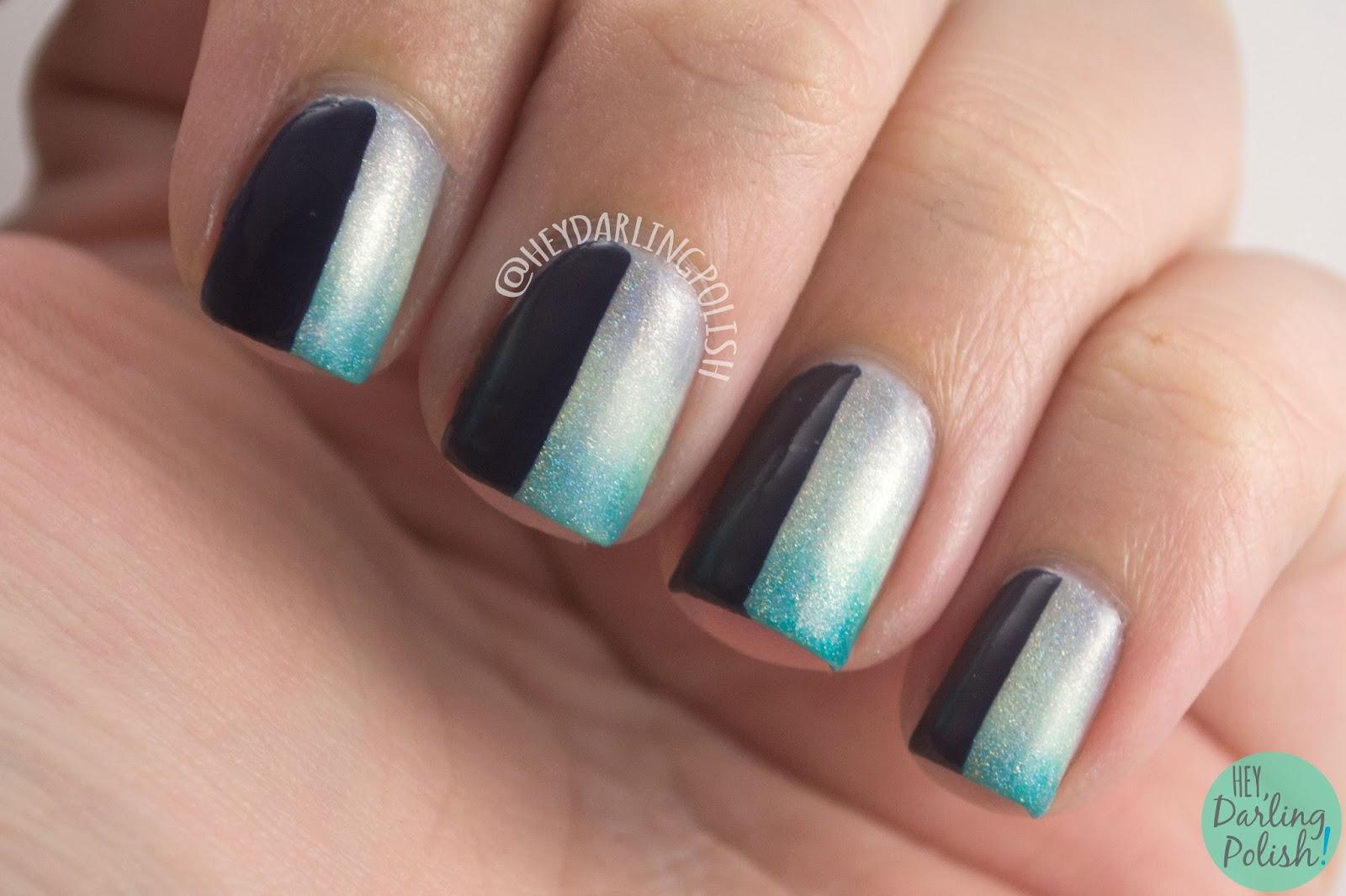 fairy godmother, gradient,green, holo, grey, blue, nails, nail art, nail polish, indie polish, fair maiden polish, hey darling polish,