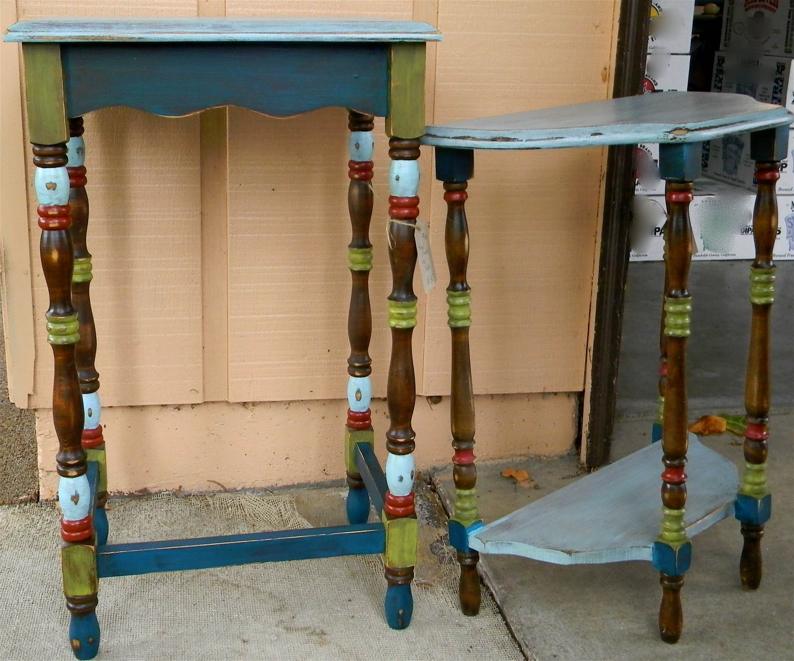 Emilys Up Cycled Furniture: Boho Chic End Tables