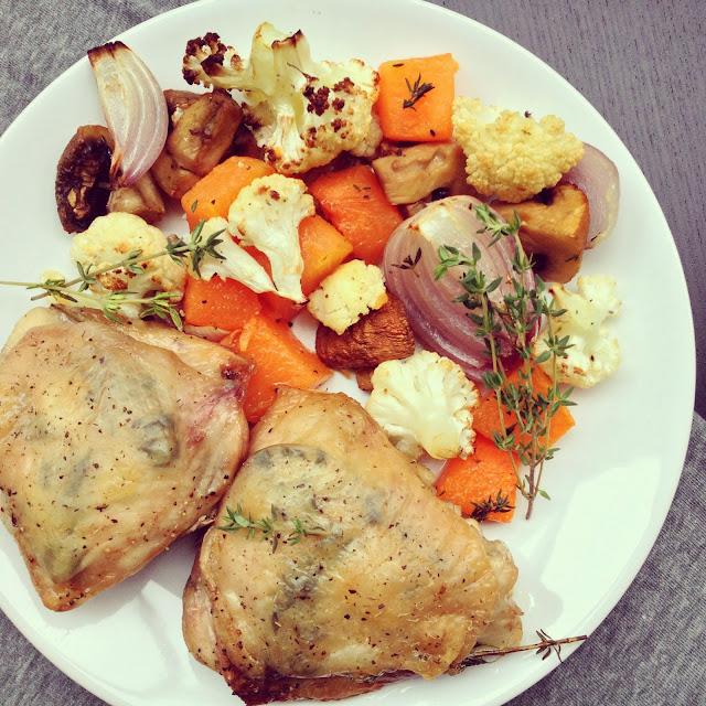 courge champignons chou-fleur poulet grillés