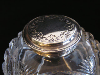 Victorian 786g Solid Silver Desk Pen Tray Stand Cut Glass Inkwell J Round 1894