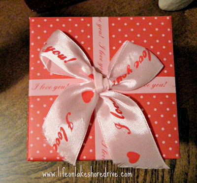 Valentine's Day vignette, Dollar Tree Valentine's gift box decor