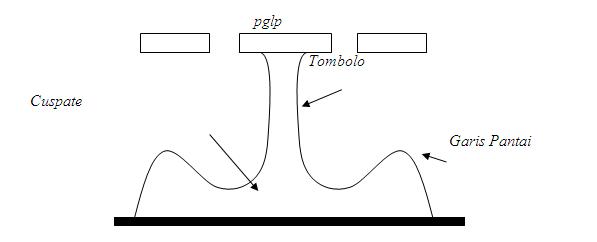Ilustrasi Efek PGLP Terhadap Pembentukan Cuspate dan Tombolo