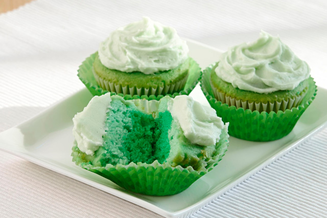 St. Patrick's Day, tint your cupcakes in shades of green with McCormick® Green Food Color