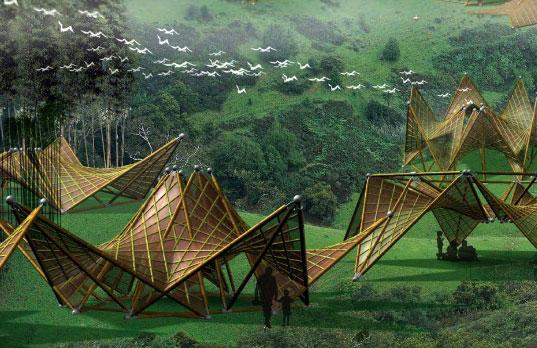 el arquitecto ming tang cre hace unos aos este prototipo de vivienda de emergencia plegable realizada con bamb la estructura inspirada en el origami