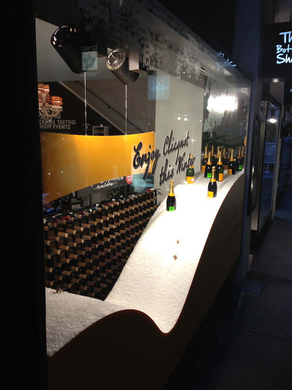 Veuve Clicquot window display Ivy Bottle Shop- display design by Objet Bart