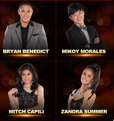 Bryan Benedict (Cebu City) Mikoy Morales (Roxas City) Mitch Capili (Bohol) Zandra Summer (Cebu City)