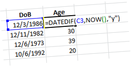 Excel DATEDIF function