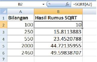 contoh penggunaan rumus SQRT