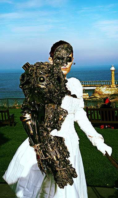 cyberpunk mechanical arm mask and dress womens fashion