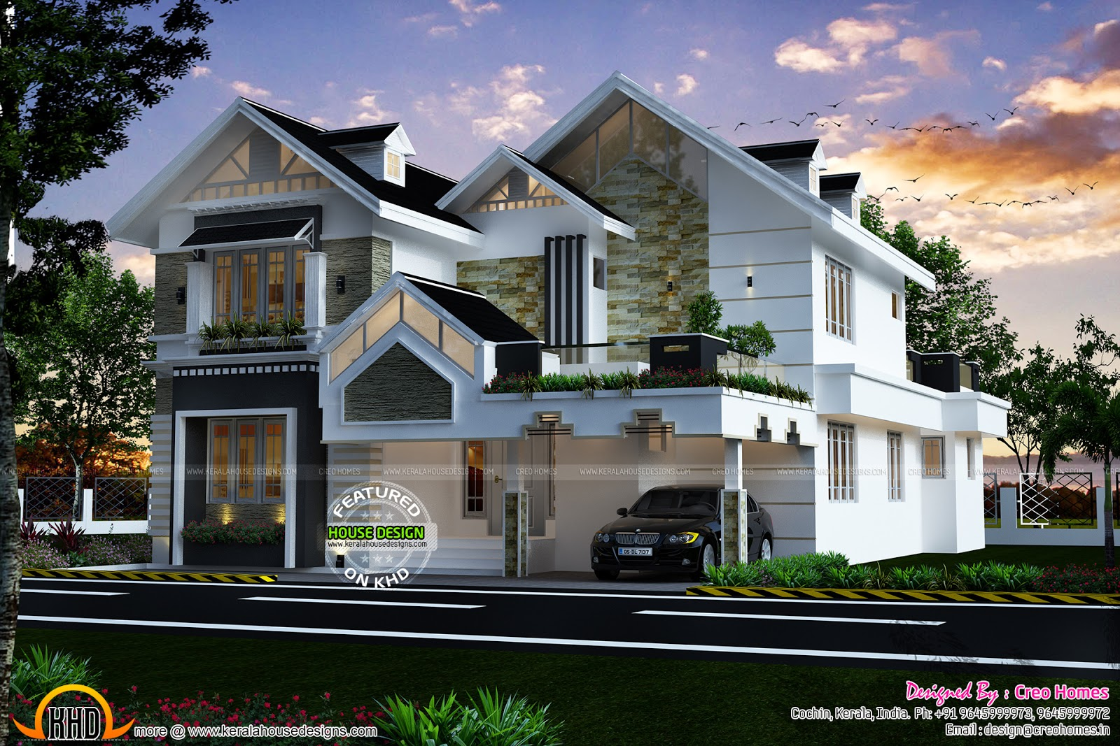 Modern sloped roof luxury house Kerala home design and floor plans