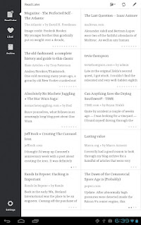 Instapaper for Android makes reading on tablets a pleasant experience. It offers both single and two-column viewing modes.
