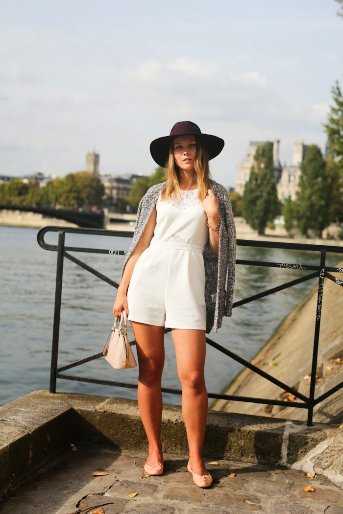 WHITE PLAYSUIT HAT GIRL