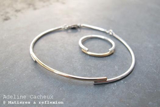 Bracelet jonc argent 925 or 18 carats Adeline Cacheux bijoux Minimal Wire