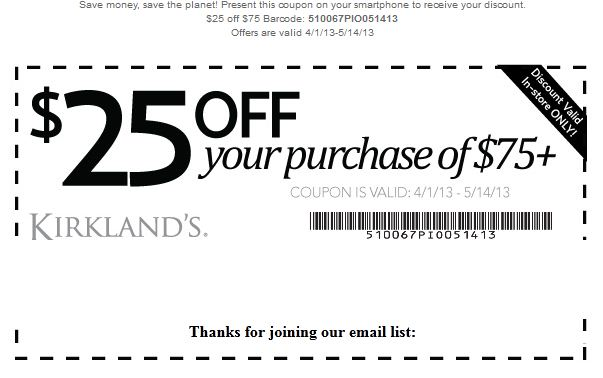 kirklands coupons. Kirklands Printable Coupons December 2014