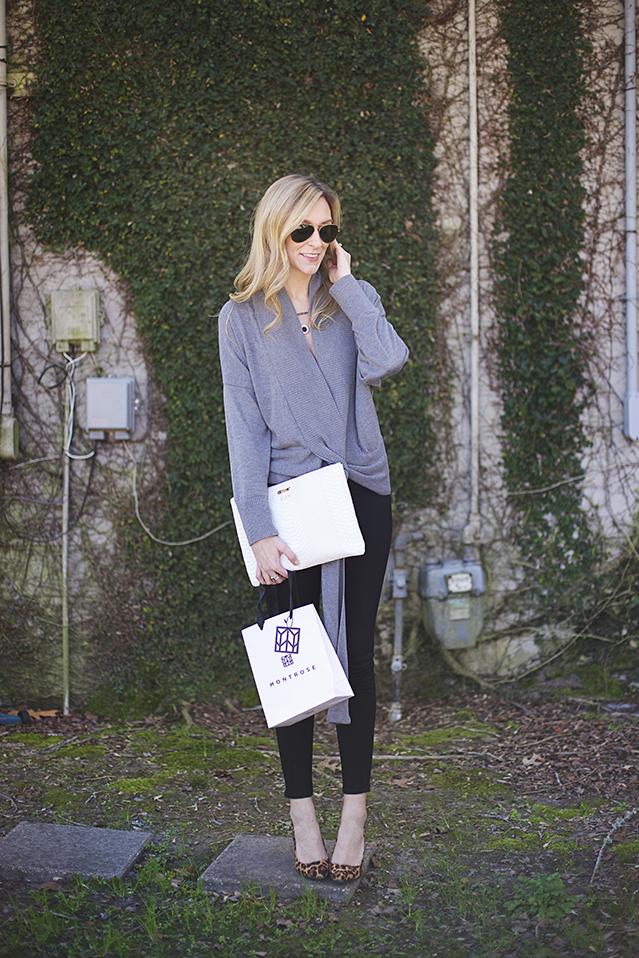 gray winter wrap sweater