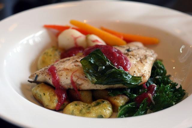 main course of panseared sea bass