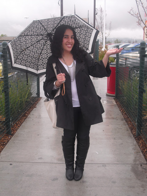Rainy Day Outfit Coach Umbrella