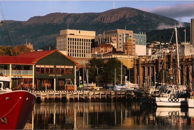 Mt Wellington from Hobart docks, Autumn
