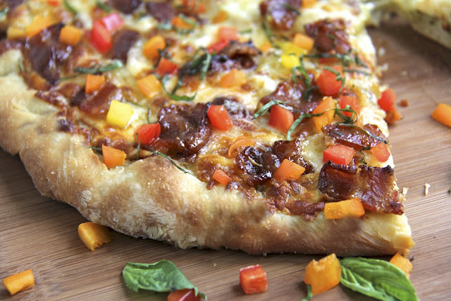 Pesto & Potato Pizza w/ Candied Applewood Bacon and Sweet Bell Pepper ...
