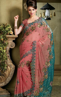 double shaded saree