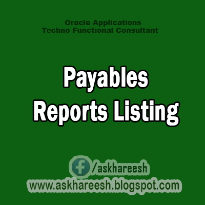 Payables Reports Listing