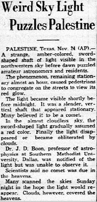 Weird Sky Light Puzzles Palestine - Dallas Morning News 11-25-1935