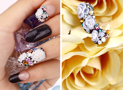 Handmade Nail tip, Swarovski & 3D Rose Nail parts Tips