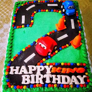 simple buttercream disney cars cake