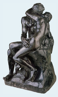 auguste rodin sculpture of couple kissing