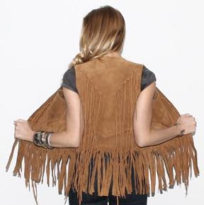 Vintage 1970's brown leather hippie style fringe vest.