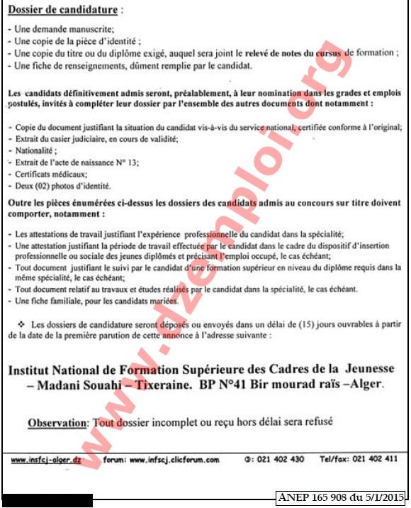 إعلان مسابقة توظيف في المعهد الوطني للتكوين العالي لإطارات الشباب مداني سواحي تيقصرايين ولاية الجزائر جانفي 2015 MINISTERE+DE+LA+JEUN