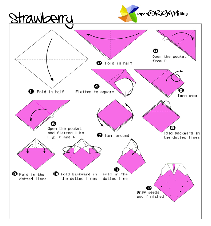 Origami Moose Diagram http://paperorigami.blogspot.com/2011/07/fruits-and-vegetable-origami-strawberry.html