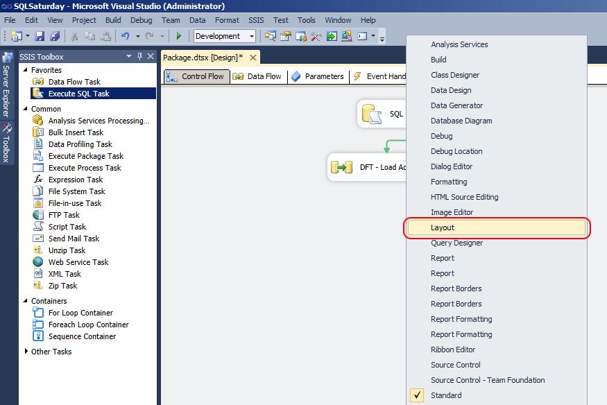 Microsoft sql server integration services auto layout diagram show layout toolbar ccuart Images