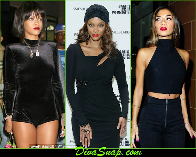 FASHION BLACK:  RIHANNA, TYRA BANK, NICOLE SCHERZINGER STUN IN ALL BLACK EVERYTHANG-DivaSnap.com
