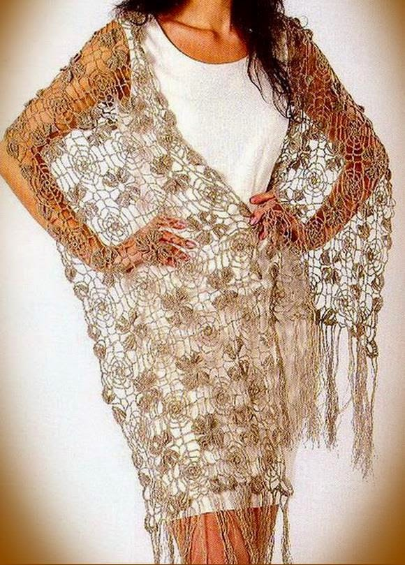 Crochet Wrap : Crochet Lace Shawl Wrap - Gorgeous fine Lace - free pattern