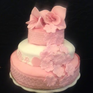 pink three tier wedding cake