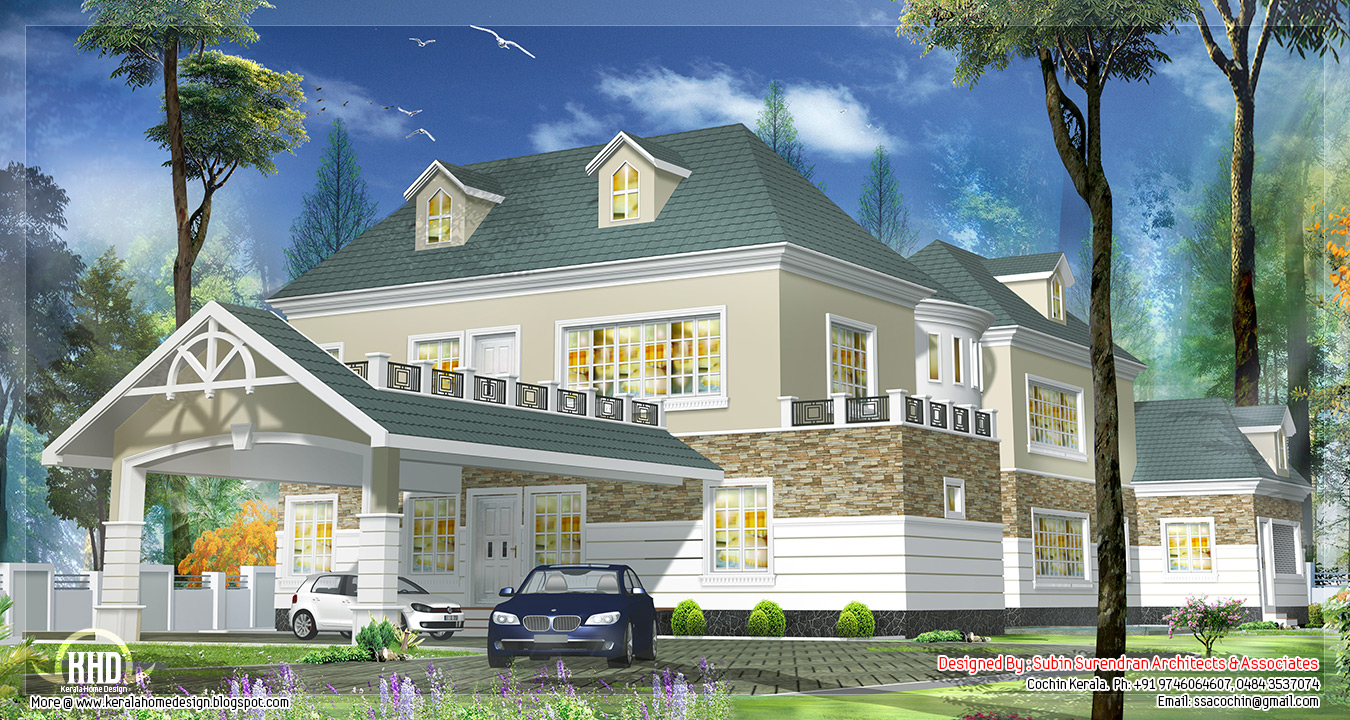 Western style house design in kerala house design plans for Western style houses