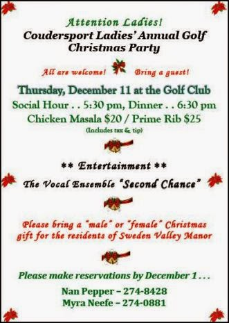 12/1 Reservations Due Christmas Party