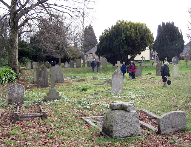 Orpington Field Club members in the churchyard at Knockholt, with snowdrops. 18 February 2012.