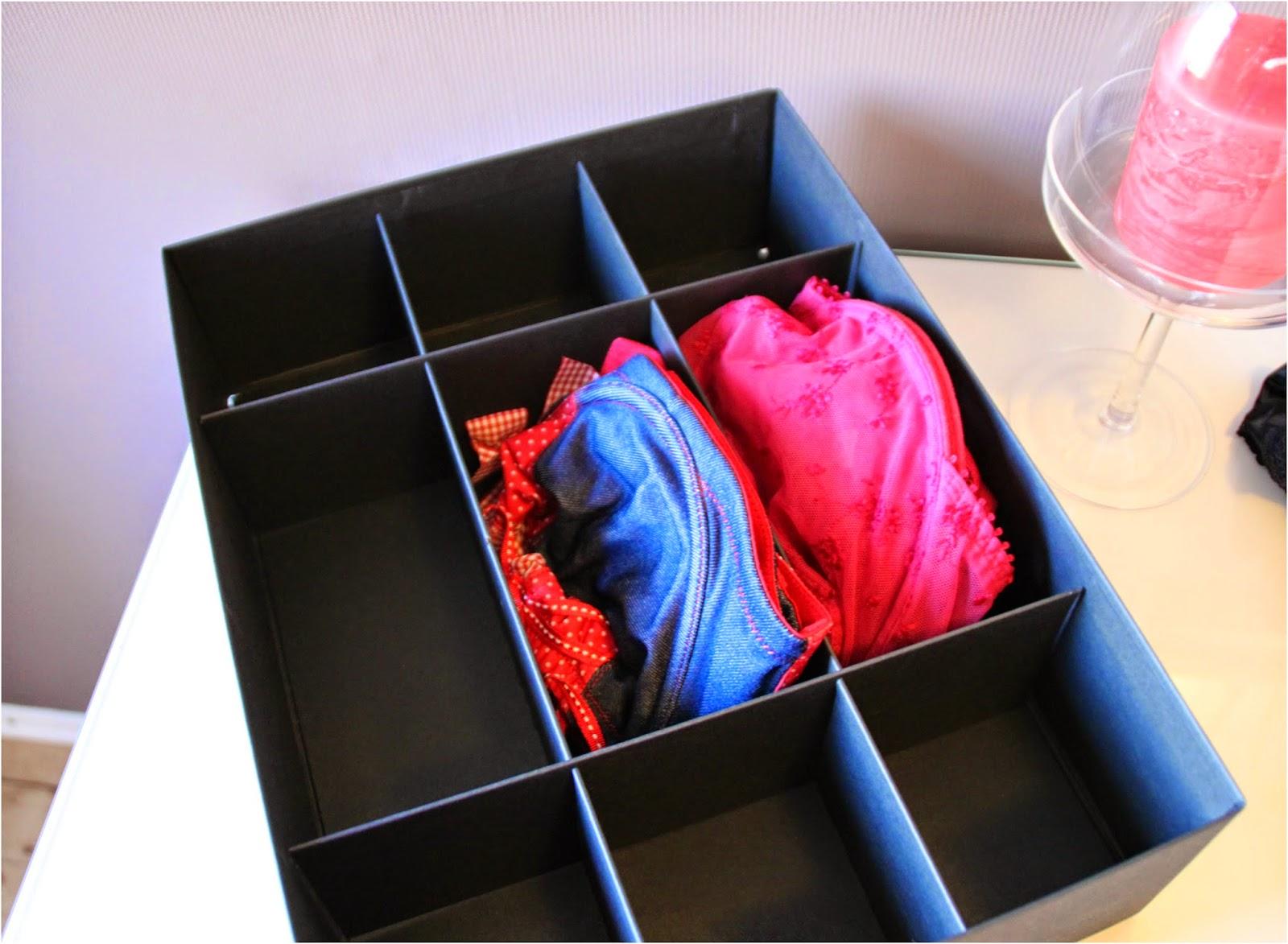Ordentlich aufbewahrt in unterteilten Kartons, die man perfekt in Schubladen stellen kann