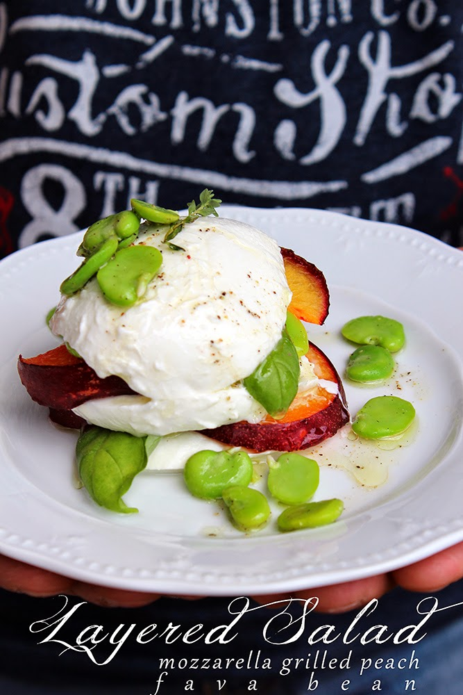 layered salad: mozzarella, grilled peach and fava bean